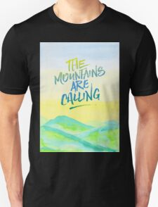 The Mountains Are Calling Yellow Blue Sky Watercolor Painting T-Shirt