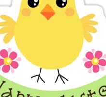 "Cute chicken with pink flowers and banner with text ""Happy Easter"" Sticker"