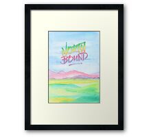 North Bound Pink Purple Mountains Watercolor Painting Framed Print