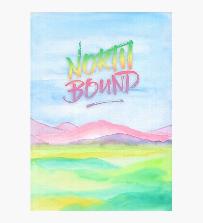 North Bound Pink Purple Mountains Watercolor Painting Photographic Print