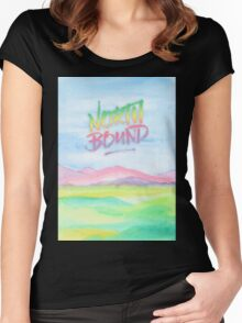 North Bound Pink Purple Mountains Watercolor Painting Women's Fitted Scoop T-Shirt