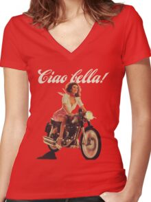 Ciao Bella! (Transparent background) Women's Fitted V-Neck T-Shirt
