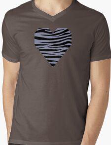 0143 Cool Grey or Gray-Blue Tiger Mens V-Neck T-Shirt