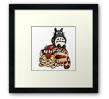 Catbus and Totoro - A Fun Ride Framed Print