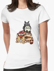 Catbus and Totoro - A Fun Ride Womens Fitted T-Shirt