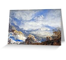 James Baker Pyne - Valley of the Rhone with the City and Citadel of Sion in Switzerland Greeting Card