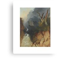 James Baker Pyne , Waterfall ravine, with a gnarled tree and rocky landscape beyond Canvas Print