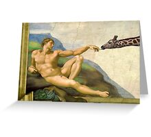 The Original Creation Of Adam With Giraffe Greeting Card