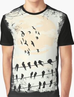 Birds Black Graphic T-Shirt