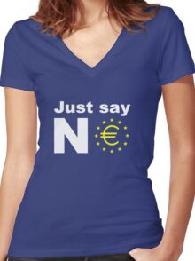 Just say no anti EU referendum ukip Women's Fitted V-Neck T-Shirt