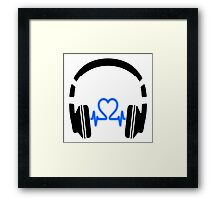 Headphones - Heart Music [Black] Framed Print