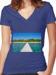 Postcard from the Maldives - Velidhu Atoll in the Indian Ocean Women's Fitted V-Neck T-Shirt