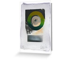 Green silkscreen and Gold leaf 'drawing'. 5 of 6. Greeting Card