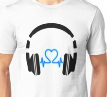 Headphones - Heart Music [Black] Unisex T-Shirt