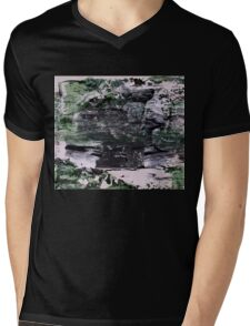 Green Mountains - Original Wall Modern Abstract Art Painting Mens V-Neck T-Shirt