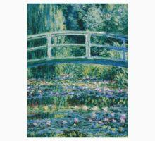 1899-Claude Monet-Water Lilies and Japanese Bridge Kids Tee