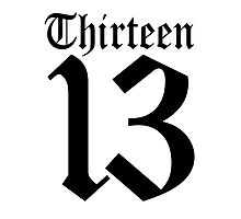 13, TEAM SPORTS, NUMBER 13, THIRTEEN, THIRTEENTH, ONE, THREE, Sport, Old English, Competition, Unlucky, Luck Photographic Print