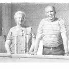 grandparents on the porch drawing by Mike Theuer