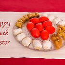 Happy Greek Easter With Easter Food  by daphsam
