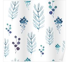 Floral White Blue Watercolor Poster