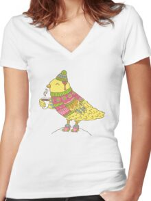 Winter bird Women's Fitted V-Neck T-Shirt