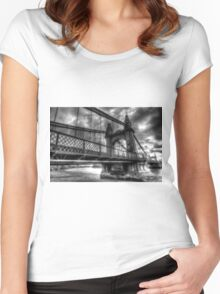 Black and white image of Hammersmith Bridge London a Late Victorian structure completed in 1887 Women's Fitted Scoop T-Shirt