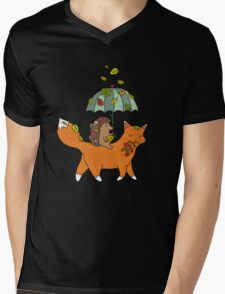 Hedgehog and fox Mens V-Neck T-Shirt