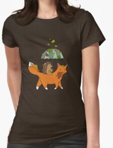 Hedgehog and fox Womens Fitted T-Shirt