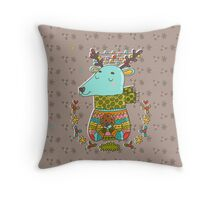 Winter deer Throw Pillow