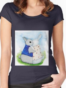 two Bunny hug Women's Fitted Scoop T-Shirt