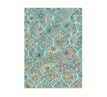 Moroccan Floral Lattice Arrangement - aqua / teal Art Print
