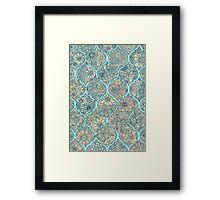 Moroccan Floral Lattice Arrangement - aqua / teal Framed Print