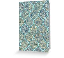 Moroccan Floral Lattice Arrangement - aqua / teal Greeting Card