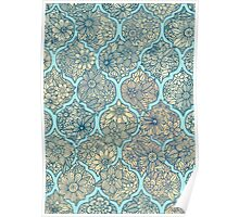 Moroccan Floral Lattice Arrangement - aqua / teal Poster