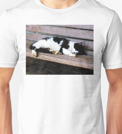 Cat Sleeping on Bench Unisex T-Shirt