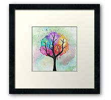 Awesome abstract pastel colors oil paint tree of Life Framed Print