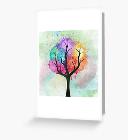Awesome abstract pastel colors oil paint tree of Life Greeting Card