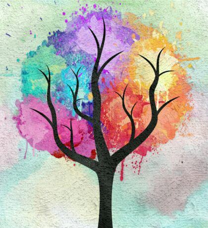 Awesome abstract pastel colors oil paint tree of Life Sticker