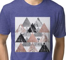 Marble Rose Gold Silver and Floral Geo Triangles Tri-blend T-Shirt