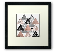 Marble Rose Gold Silver and Floral Geo Triangles Framed Print