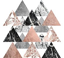 Marble Rose Gold Silver and Floral Geo Triangles Photographic Print