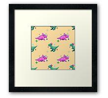 Cute Pixel Dinosaurs Framed Print