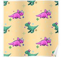 Cute Pixel Dinosaurs Poster
