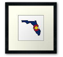 Colorado flag Florida state outline Framed Print