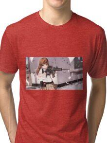 Girl anime with gun Tri-blend T-Shirt