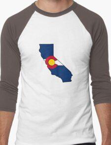 California outline Colorado flag Men's Baseball ¾ T-Shirt