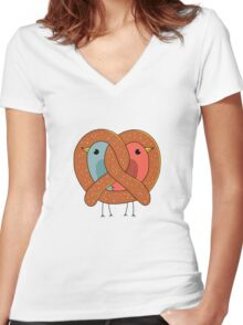 Love in pretzel Women's Fitted V-Neck T-Shirt