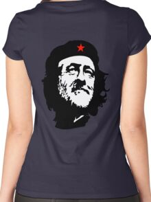 CORBYN, Comrade Corbyn, Leader, Labour Party, Black on RED Women's Fitted Scoop T-Shirt