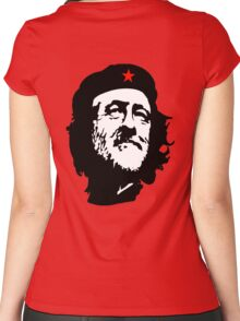 CORBYN, Comrade Corbyn, Leader, Labour Party, Politics, Black on RED Women's Fitted Scoop T-Shirt