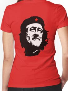 CORBYN, Comrade Corbyn, Leader, Labour Party, Politics, Black on RED Women's Fitted V-Neck T-Shirt